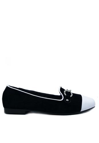 Twenty Eight Shoes 黑色 金屬鏈仿猄皮Loafers 1140-86 DD8E0SH00F11BDGS_1