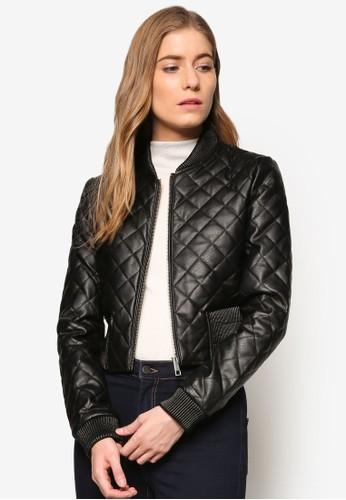菱格esprit tote bag紋軟襯飛行員夾克, 服飾, 外套