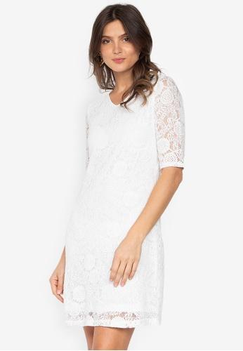 18f477b678ea Shop Krizia Scallop Sleeve & Hem Lace Dress Online on ZALORA Philippines