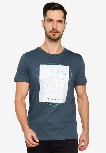 BLEND grey Graphic Text Crew Neck T-Shirt DDF2BAA4B2B947GS_1
