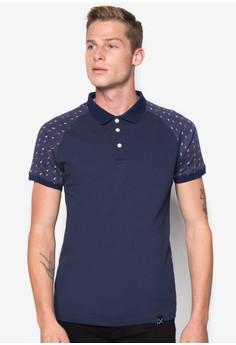 Raglan Polo Shirt with Printed Sleeves