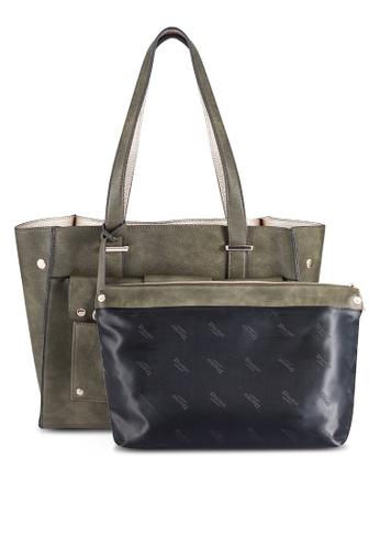 Dune London green Raw Edge Shopper Bag DU588AC0RE0OMY_1