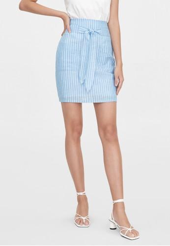 Pomelo blue Purpose Striped Mini Skirt - Blue B411BAABFD627DGS_1