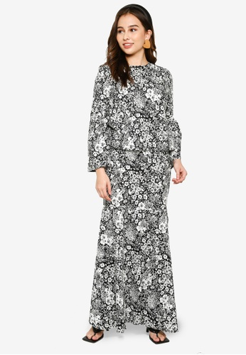 Lubna black and white Wide Sleeves Kurung with Mermaid Skirt AAD57AA2BDED6AGS_1