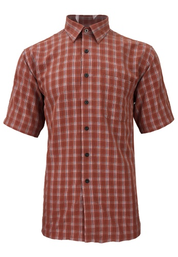 Pacolino red Pacolino - Korea Polynosic Wrinkle Free Checker Formal Casual Short Sleeve Men Shirt D04A1AA936B108GS_1