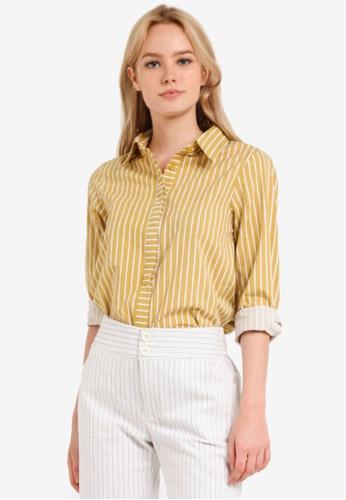 Geb. yellow Striped Long Sleeve Shirt GE945AA0RD2ZMY_1