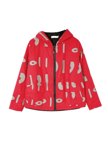 Its Me black and red Casual Color Block Warm Hooded Jacket 99944AA8699542GS_1