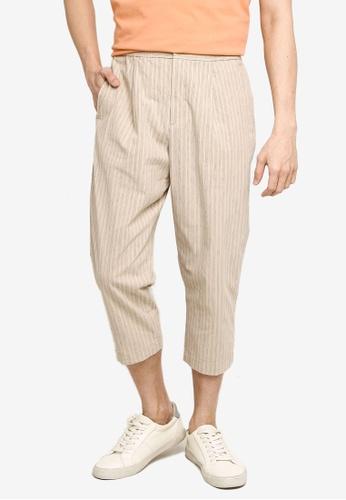 GLOBAL WORK beige Stripe Cropped Pants 2070DAA82BEE8DGS_1