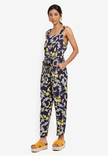 d8b89ef0653 Buy Dorothy Perkins Petite Navy Floral Jumpsuit Online on ZALORA Singapore