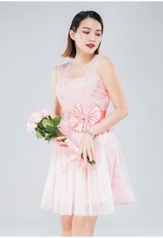【ZALORA】 伴娘Bridesmaid蝴蝶結網紗連衣裙