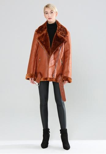 London Rag brown Biker Jacket With Faux Fur Collar BDC1AAA50C97C3GS_1