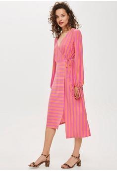 5509fe98128 60% OFF TOPSHOP Petite Stripe Wrap Midi Dress RM 229.00 NOW RM 91.90 Sizes  6 8