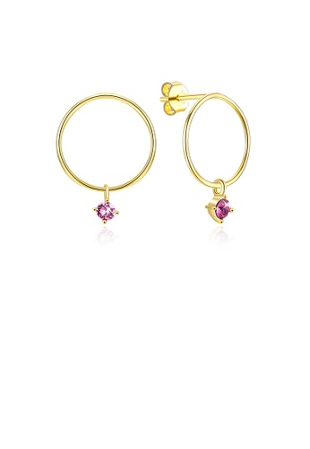 Glamorousky purple S925 Sterling Gold Plated Silver Simple Circle Earrings and Ear Studs with Purple Austrian Element Crystal 2966BACB88BFDDGS_1