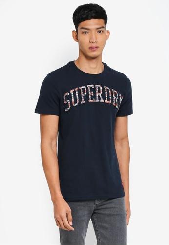 Superdry 海軍藍色 短袖印花T恤 F1639AAA57FE87GS_1