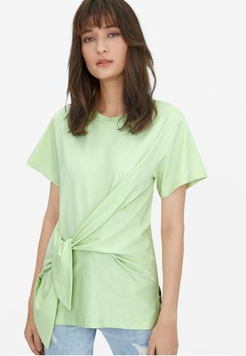 Pomelo green Oversized Side Knot Tee - Green C967AAA4704B49GS_1