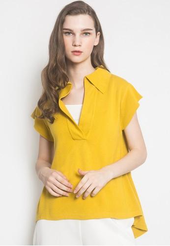 Noir Sur Blanc yellow Ladies Blouse Short Sleeve F5643AA91E227BGS_1