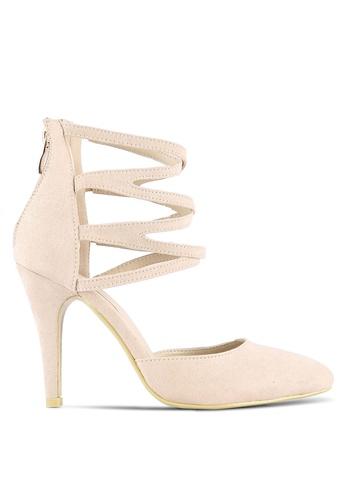 Velvet beige Strappy Pointed Toe Heels C148ESH690033FGS_1
