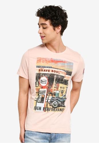 Brave Soul 粉紅色 照片印花圓領T恤 DFB9DAA812C4D6GS_1