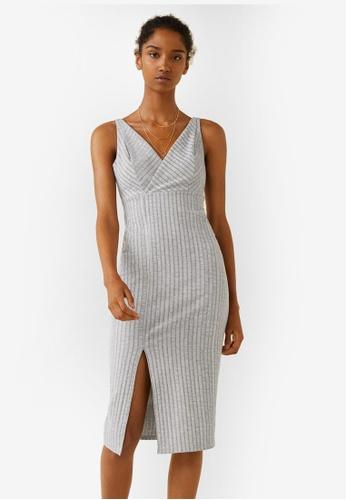 Mango grey Ribbed Jersey Dress E7BB6AAE149354GS_1