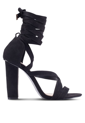 Miss Selfridge black COCO Wrap Heeled Sandal MI665SH29BVEMY_1