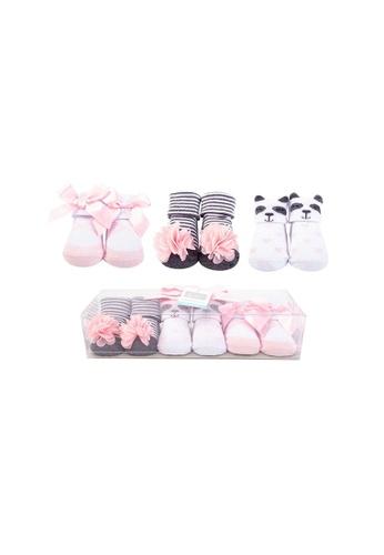 Little Kooma black and pink Baby Girl Newborn Baby 3 Pairs Socks Set 58258 8C672KAAF2FC15GS_1