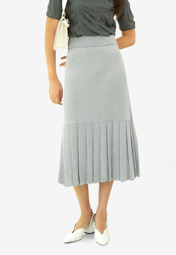 NAIN silver Metallic Knit Pleat Hem Skirt 81019AA0B6F455GS_1
