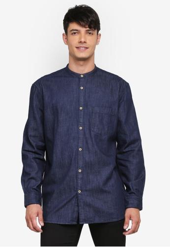 French Connection blue Denim Grandad Collar Shirt E0D63AA9D45365GS_1