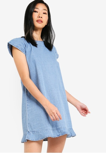 Something Borrowed blue Fluted Hem Denim Dress 82E09AAD57EFE7GS_1