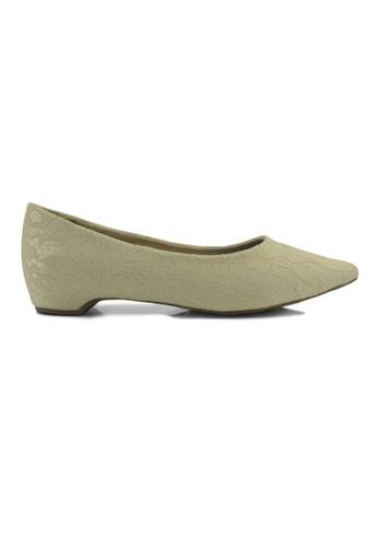 SHINE beige Point Toe lace Up Flats SH554SH13CKKSG_1
