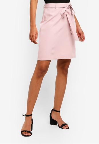 ZALORA BASICS pink Basic Tie Front Mini Skirt 1FE6FAAE32A97FGS_1