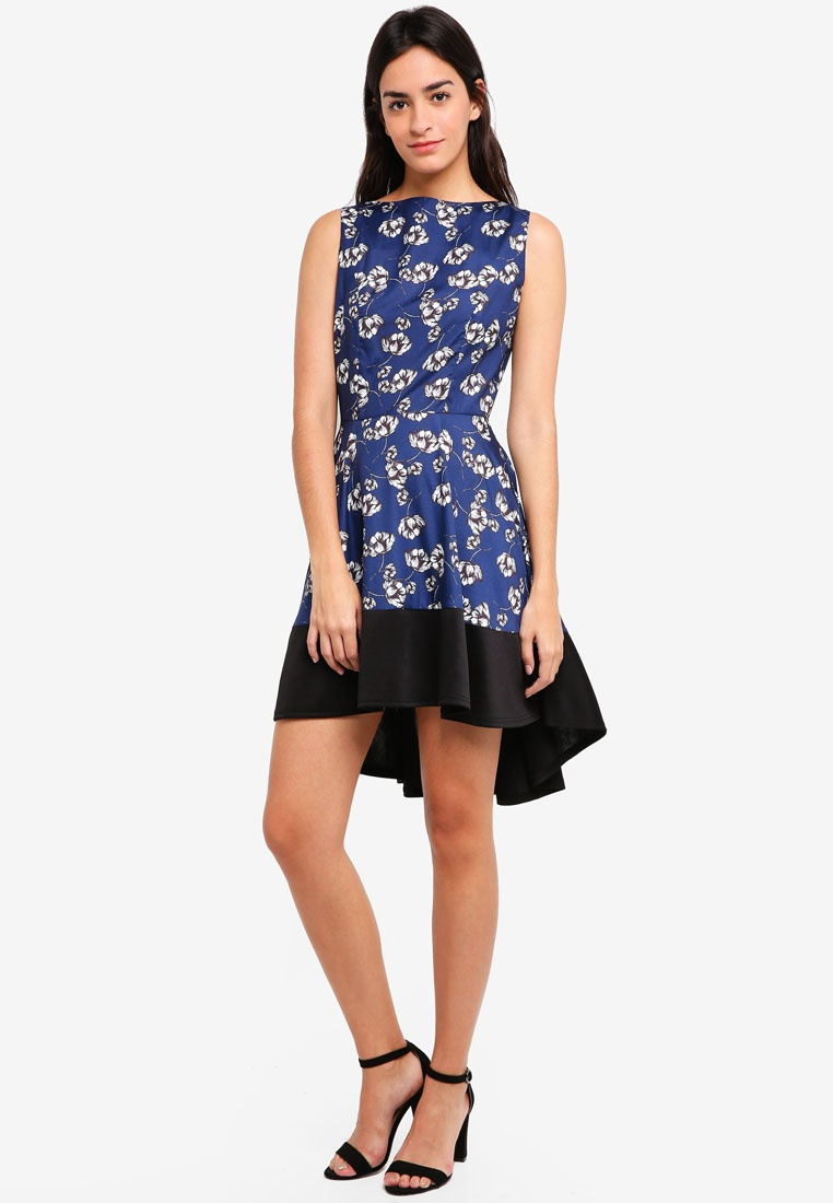 High Navy ZALORA Dress Hem Low Black Floral IPqrI