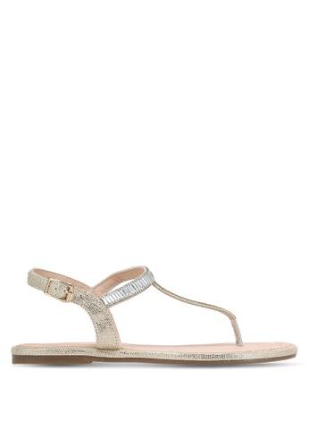 Velvet gold Bejeweled T-Strap Sandals 8DFB1SH456C31CGS_1