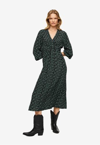 Mango green Midi Printed Dress 4B277AA254B700GS_1