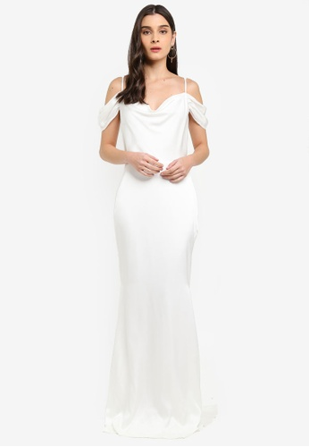 MISSGUIDED white Off The Shoulder Fishtail Maxi Dress B7B9CAA8C4BF1FGS_1