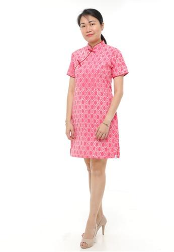 AYAYU white and red ONGLAI CNY Women Cheongsam Cotton Handblocked Batik Red 8D1C5AA36A3633GS_1