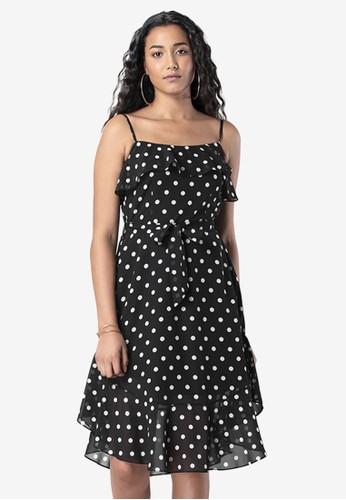 FabAlley black Polka Ruffled Strappy Midi Dress 9AB26AAB703AC8GS_1