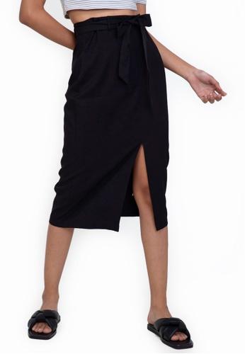 ZALORA BASICS black Midi Skirt with Slit 89A7EAA7DB469AGS_1