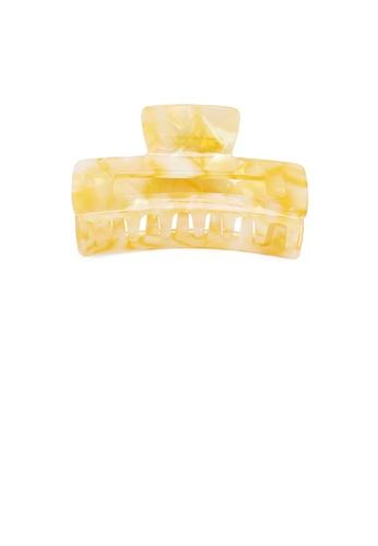 Glamorousky yellow Simple Fashion Yellow Pattern Geometric Rectangle Hair Claw 1D848AC5360EEAGS_1