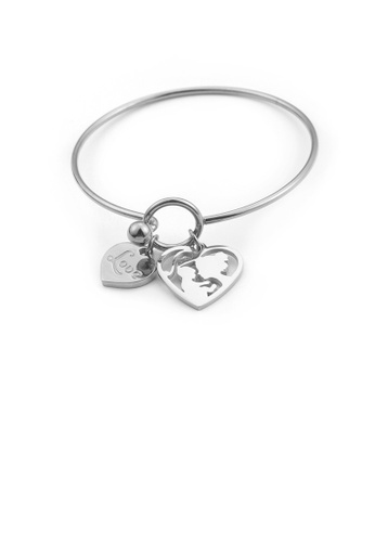 Glamorousky silver Simple and Elegant Heart-shaped Mother and Child Cartoon Character 316L Stainless Steel Bangle 874ECACD6EA935GS_1