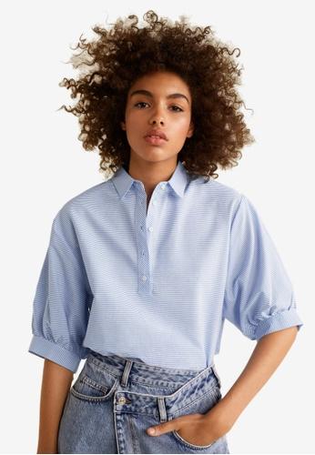 Mango blue Striped Cotton Shirt 49B34AAF85FF70GS_1