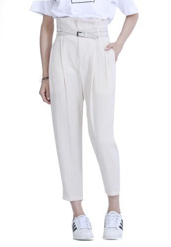 Kodz beige High Waist Pants with Belt 849D1AA219E237GS_1