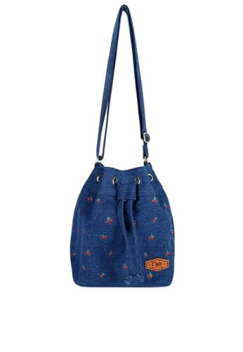 Ripples blue Cherry Embroidery Denim Bucket Sling Bag DC598AC76133BEGS_1