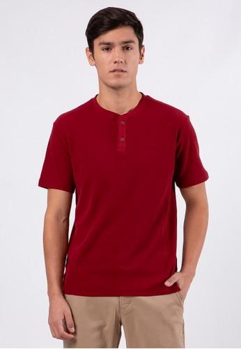 The Executive red Maroon Henley Tee 422E4AA8838BD3GS_1