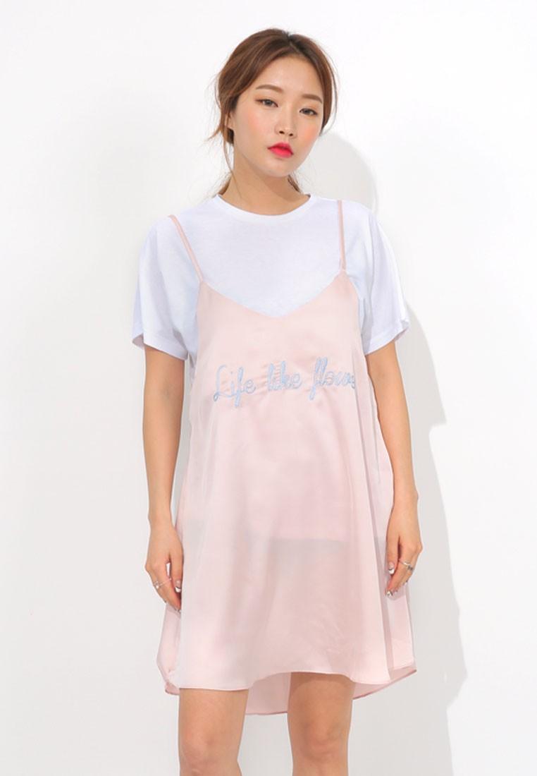K Style Romantic Lettering Mini Dress