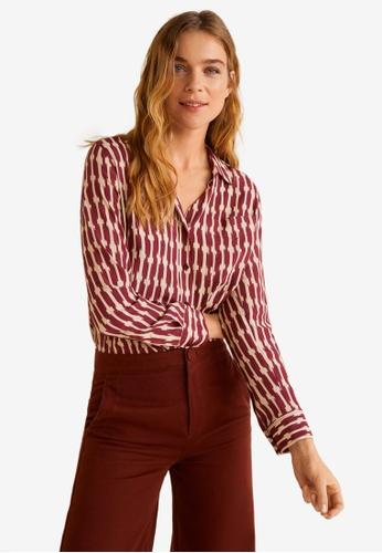 Mango 紅色 口袋紋理襯衫 31A9DAA1E7264BGS_1