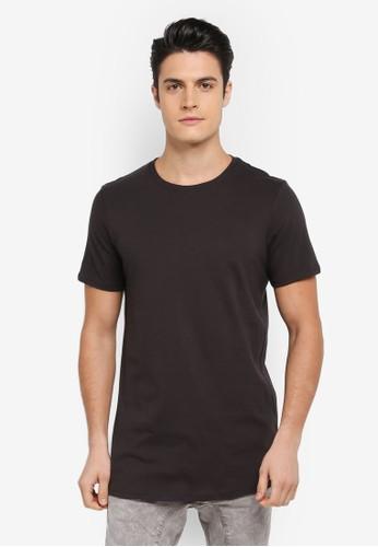 Cotton On black Essential Longline Curved Hem Tee 58F59AA31429F0GS_1