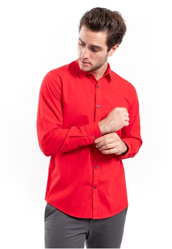 MANLY red Manly Gardezy Red Slim Fit Plain Shirt Long Sleeve 24BEFAA765F9D2GS_1
