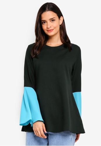 Aqeela Muslimah Wear green Bell Sleeve Top 9C0A1AA4CACEFCGS_1