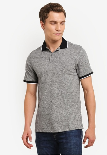 Burton Menswear London grey Charcoal Grindle Polo Shirt BU964AA0RQOFMY_1