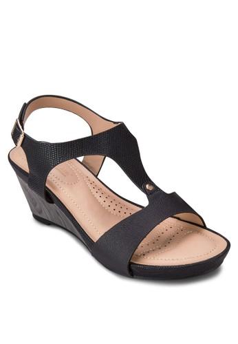 T字帶繞踝esprit地址楔形涼鞋, 女鞋, 楔形涼鞋